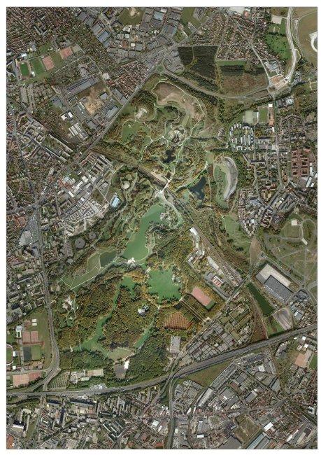</strong>Photo 2b&nbsp;: vue aérienne actuelle (service du parc Georges Valbon, DNPB, CG93)<strong>