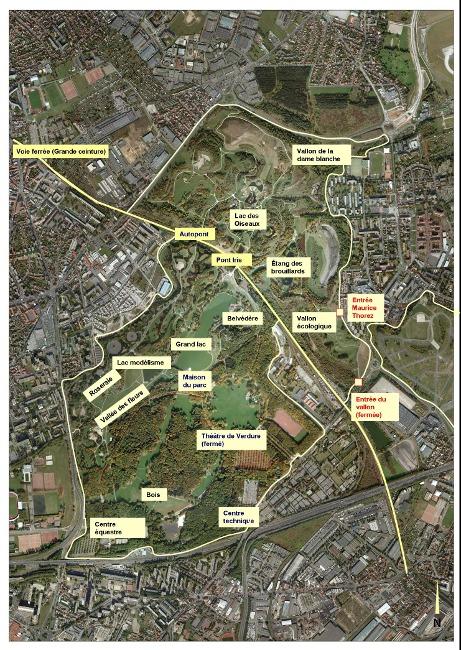 </strong>Figure 4&nbsp;: localisation des lieux évoqués dans l&#8217;article (service du parc Georges Valbon, DNPB, CG93)<strong>