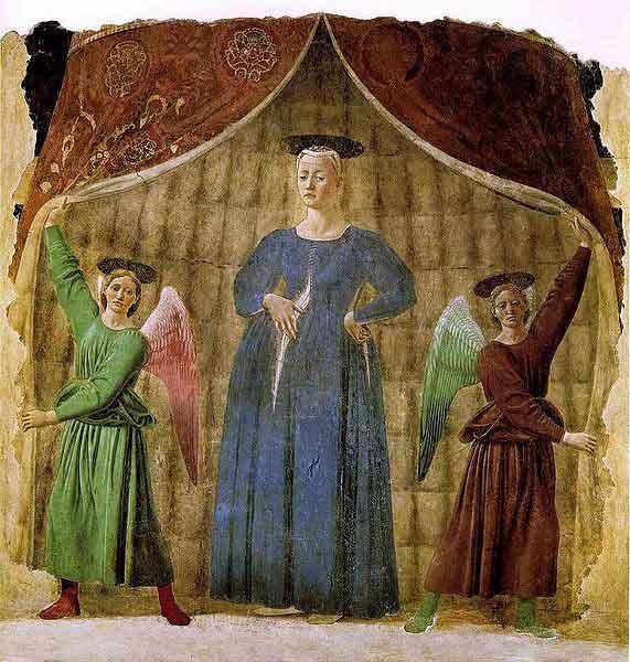 Piero della Francesca, Madonna del Parto, v. 1460. fresque, Monterchi, Prov. d'Arezzo (Italie).