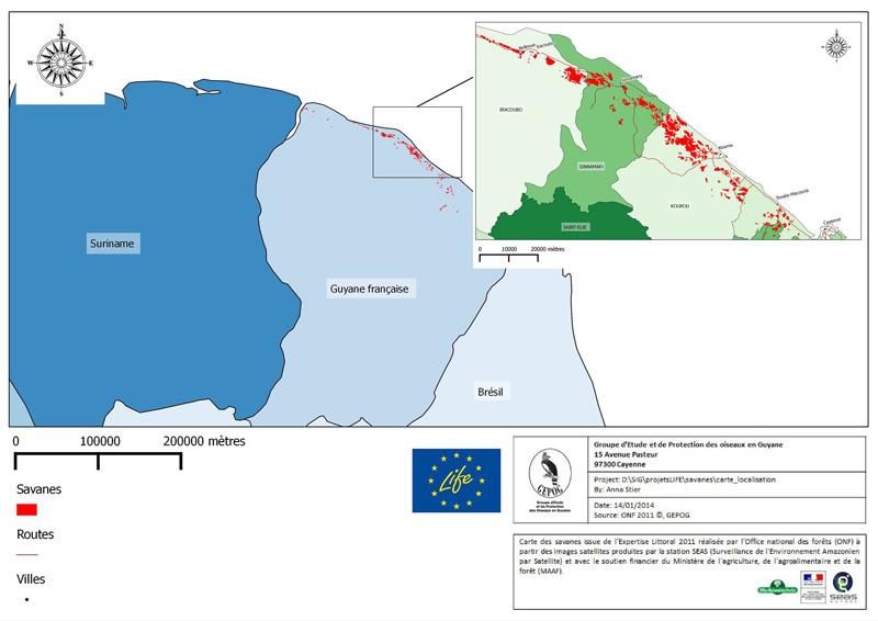 Carte des savanes de Guyane