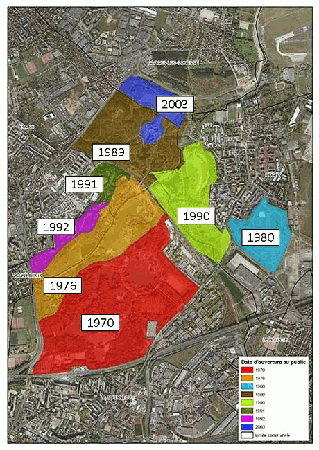 </strong>Figure 3&nbsp;: dates d&#8217;ouverture des différents secteurs  du parc (service du parc Georges Valbon, DNPB, CG93)<strong>