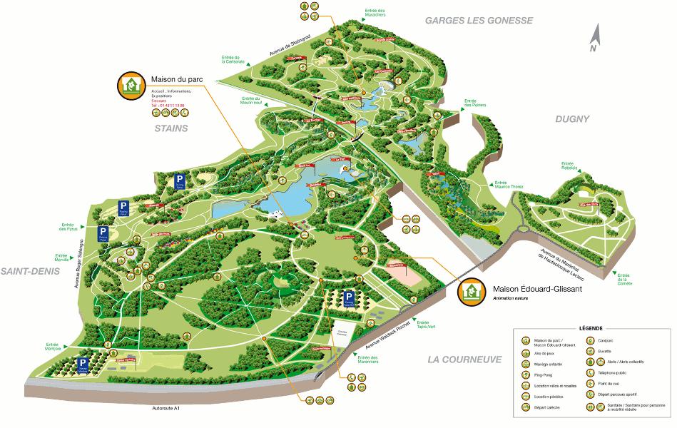 </strong>Figure 5&nbsp;: plan actuel du parc (service du parc Georges Valbon, DNPB, CG93)<strong>