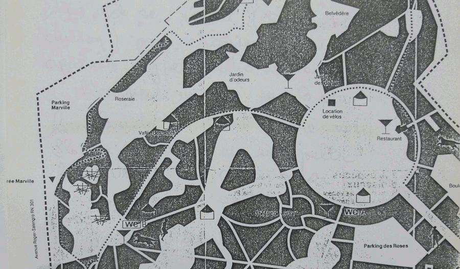 </strong>Photo 3&nbsp;: extrait du plan du parc tel que figurant sur une brochure, années 1980 (service du parc Georges Valbon, DNPB, CG93<strong>